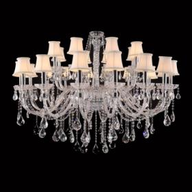 Lustre de Aço Cromado de Vidro, Cúpula e Cristal 24 Lâmpadas +Luz Iluminação