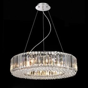 Pendente de Aço Cromado de Cristal 12 Lâmpadas +Luz Iluminação