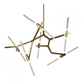 Pendente Moderno em Metal Dourado Fosco e Vidro Fosco 12 Lâmpadas G9 - Pier