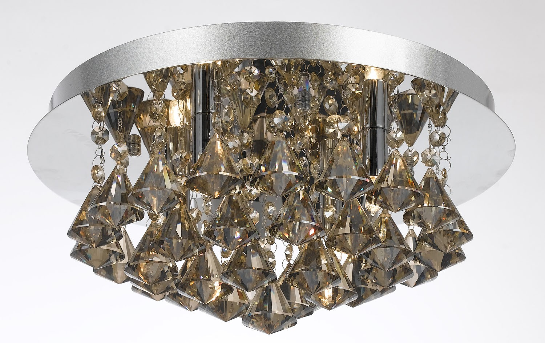 Plafon de Cristal Conhaque 6 Lâmpadas Donatela Home Design Pier