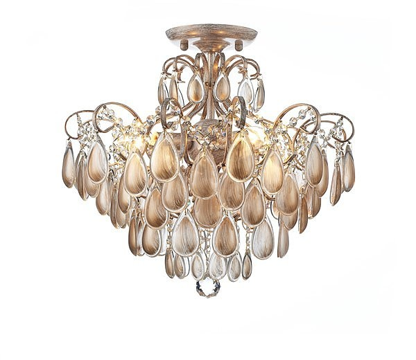 Plafon Bemmel Blend Metal Branco com Ouro Jateado com Cristais Dourados 6 Lampadas -Tupiara