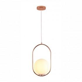 Pendente Moderno Cúpula de Vidro Branco Leitoso Com Estrutura em Metal Rose 1 lâmpada - JLR