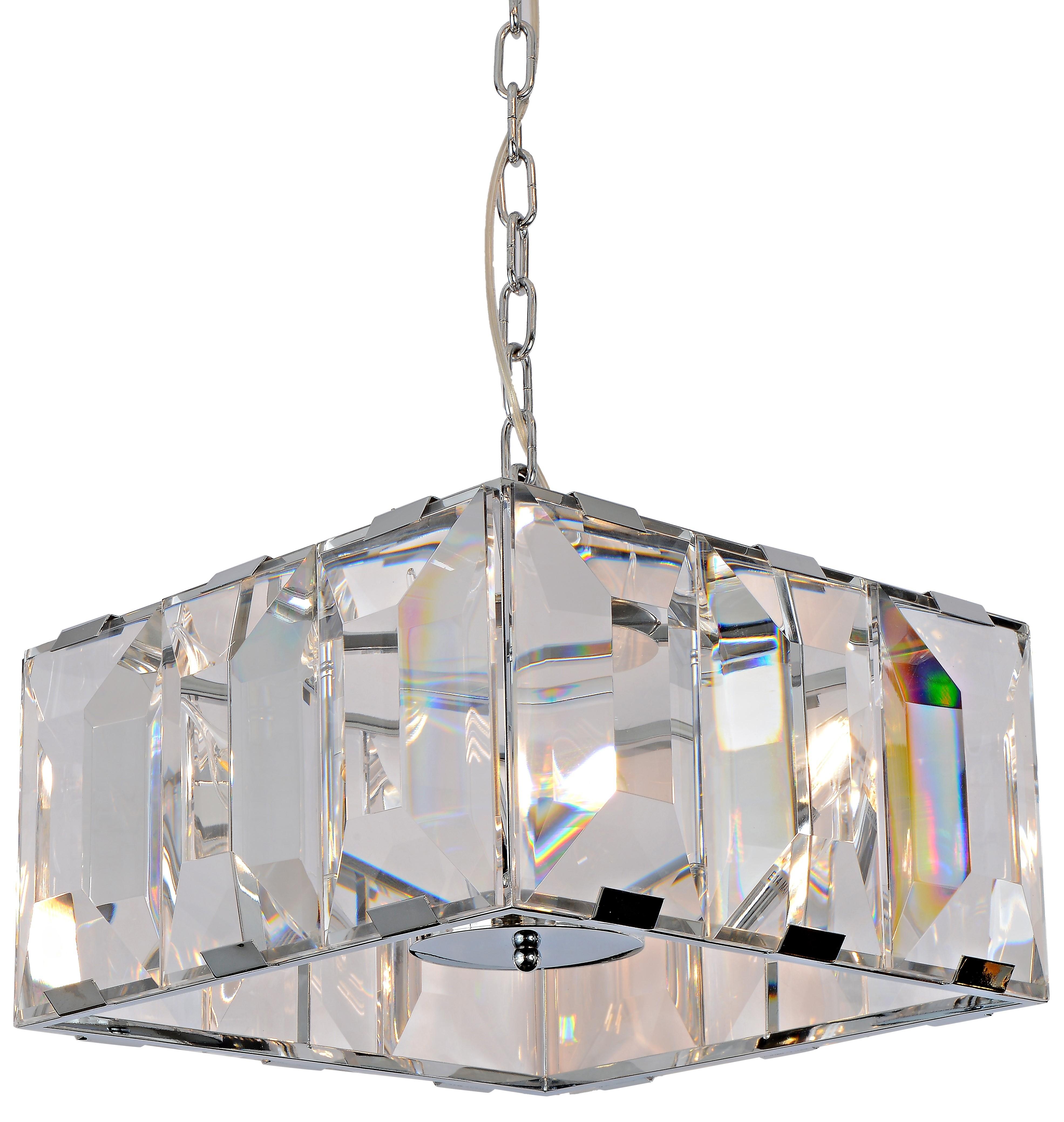 Pendente Quadrado Cristal Preto 6 Lâmpadas - Sindora