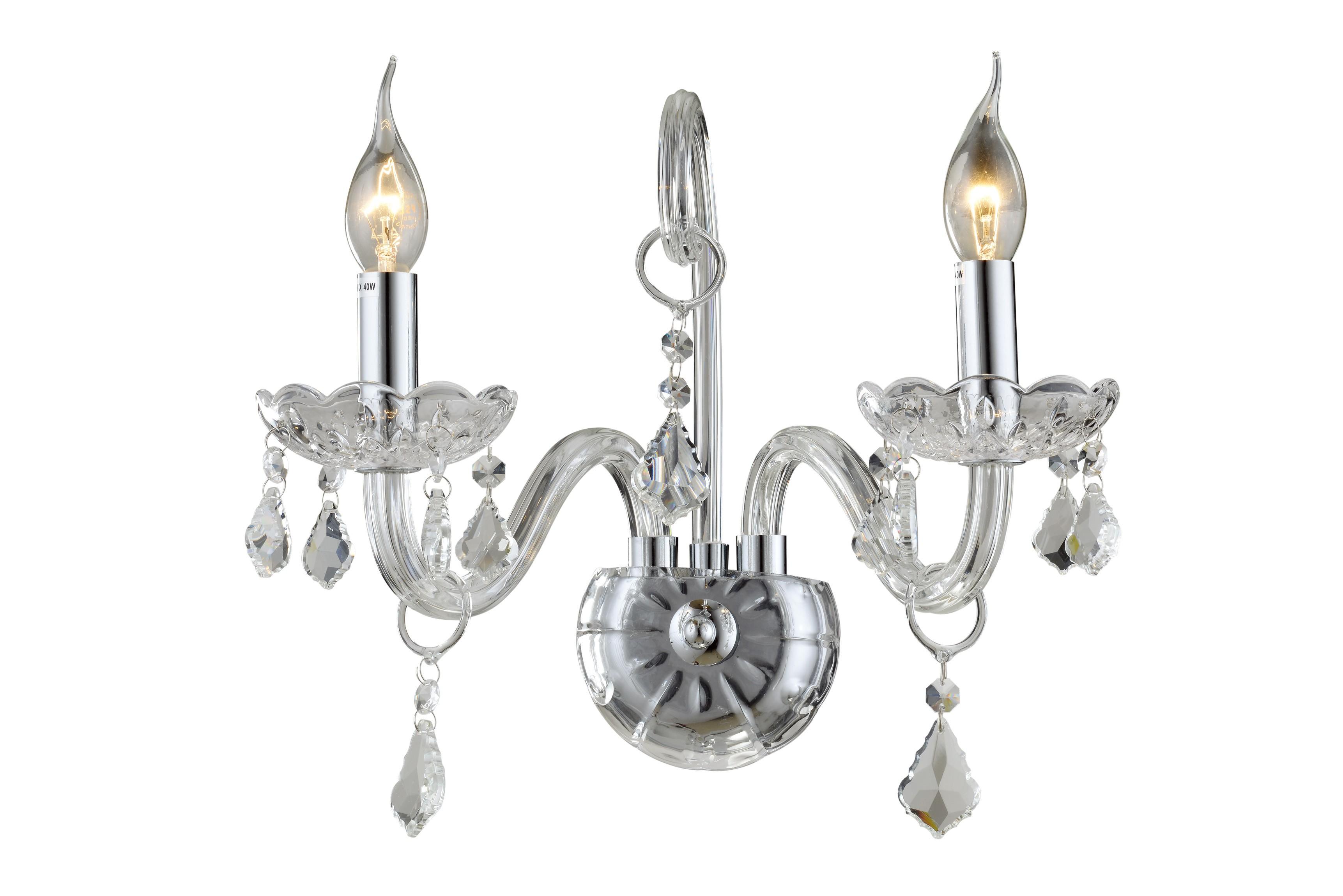 Arandela de Cristal Maria Thereza transparente 2 Lâmpadas