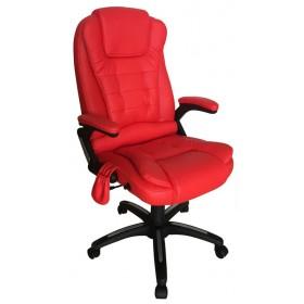 Cadeira De Massagem Designchair Presidente Shiatsu Relax Office Base Giratória - Vermelha