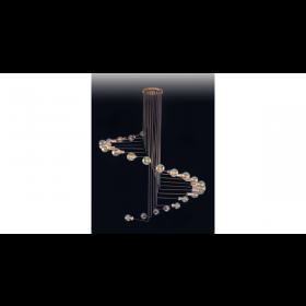 Plafon de Cristal Transparente Com Base Redonda em Aço Inox 24 Lampadas - Old Artisan