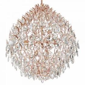 Lustre Moderno de Cristal Transparente e Estrutura em Metal Rose 10 Lâmpadas - JLR