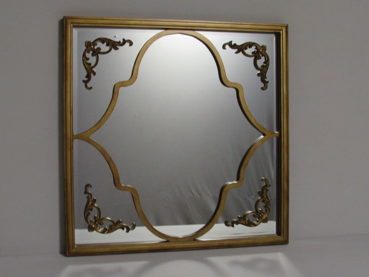 Espelho Quadrado com Detalhes Dourado - Frontier