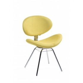 Cadeira Decorativa Bella Base Fixa Amarela