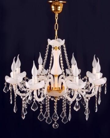 Lustre com Cristais Transparentes Acabamento Frost e Parte Dourada 8 Lâmpadas Piemonte - Sigma