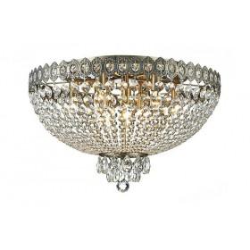Plafon Queen Metal Jateado em Ouro Velho com Cristais Transparente 9 Lâmpadas - Tupiara