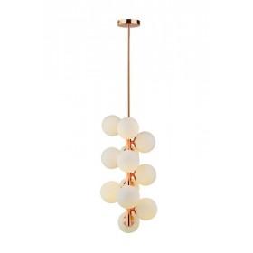 Pendente Moderno Cúpula de Vidro Leitoso e Estrutura Ouro Rose 12 Lâmpadas Bolle