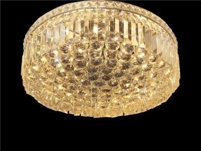 Plafon de Cristal Transparente Base Redonda em Banho Cromo 6 Lâmpadas - Frontier