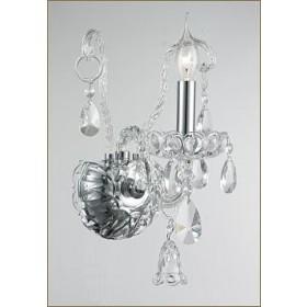 Arandela Buckinghan em Vidro Cristal e Cristais Transparentes 1 Braço - Tupiara