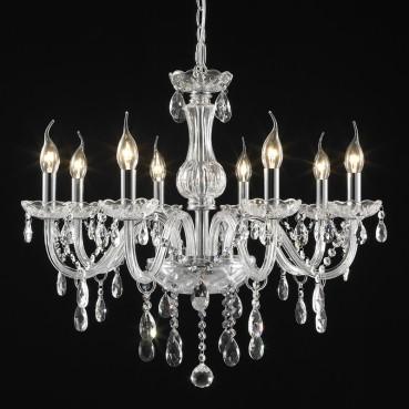 Lustre Maria Thereza de Aço em Cromo com Vidro e Cristais 8 lâmpadas - Itamonte