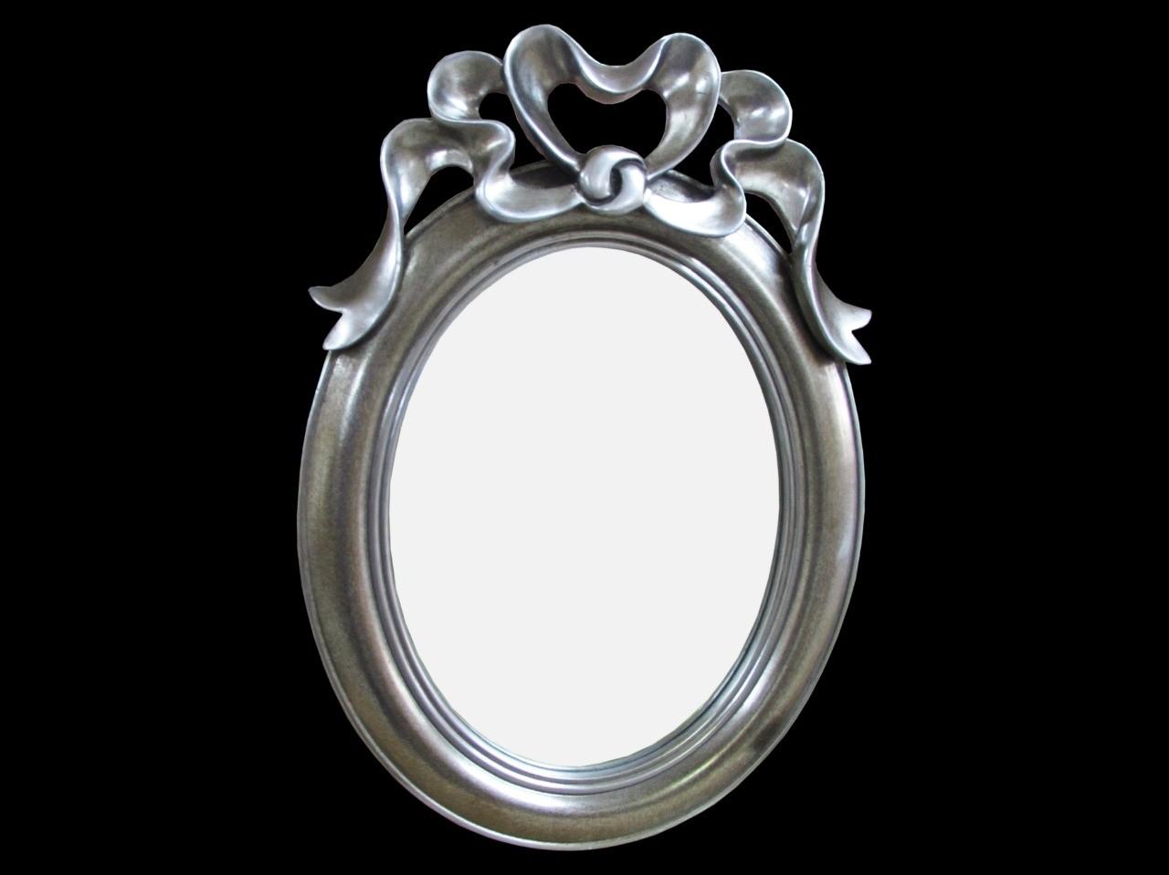 Espelho Oval Moldura Prata com Detalhe de Coração - Frontier