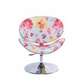 Poltrona Decorativa Designchair Flora Base Disco Cromada Floral Fundo Azul