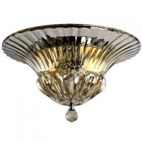 Plafon Sybil Cristal Cognac Metal Cromado 1 Lâmpada - Pier