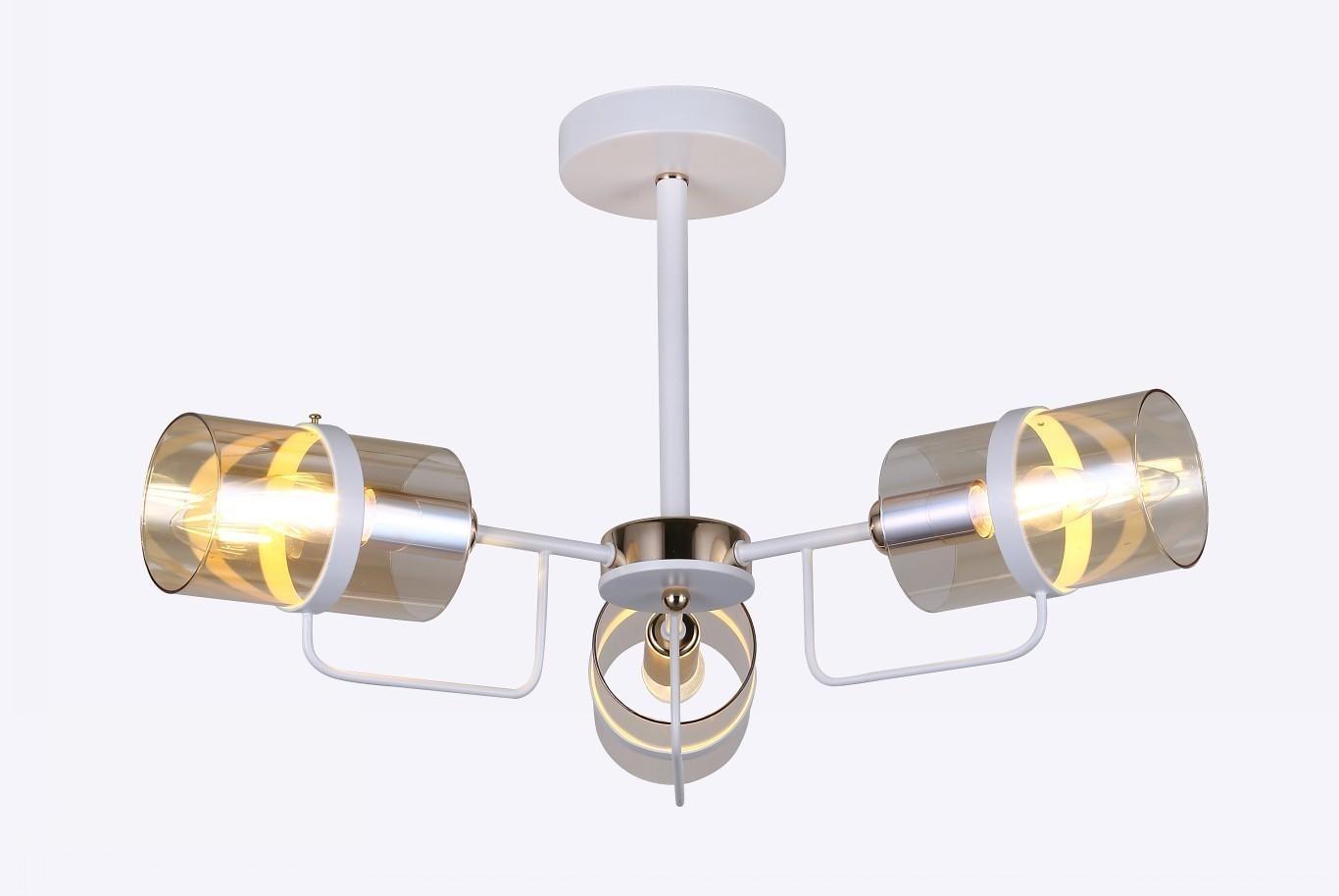Pendente Metal e Vidro Branco 3 Lâmpadas - Sindora