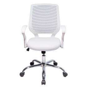 Cadeira Executiva Base Giratória Cromada Delli Branca - Desingchair