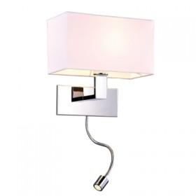 Arandela Leitura Branca com 1 lampada auxiliar de led e 1 lampada E27 -Bella
