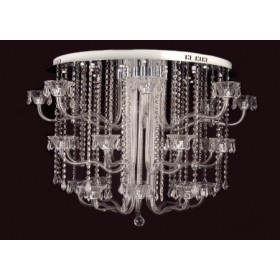 Plafon Cromado com Cristal Tranparente 44 Lâmpadas Firenze - Sigma