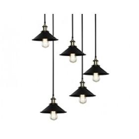 Pendente Industrial Preto 5 lâmpadas - Mart Iluminação