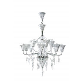 Lustre de Cristal Candelabro Maria Thereza Transparente 12 Lâmpadas Donatela Home Design Pier