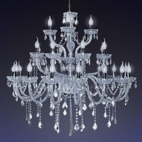 Lustre de Cristal Transparente 28 Lâmpadas Nice - Startec