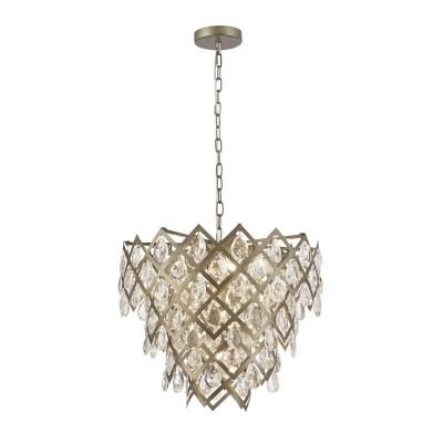 Pendente Pinha de Cristal Transparente Estrutura Cromada 9 Lampadas - Old Artisan