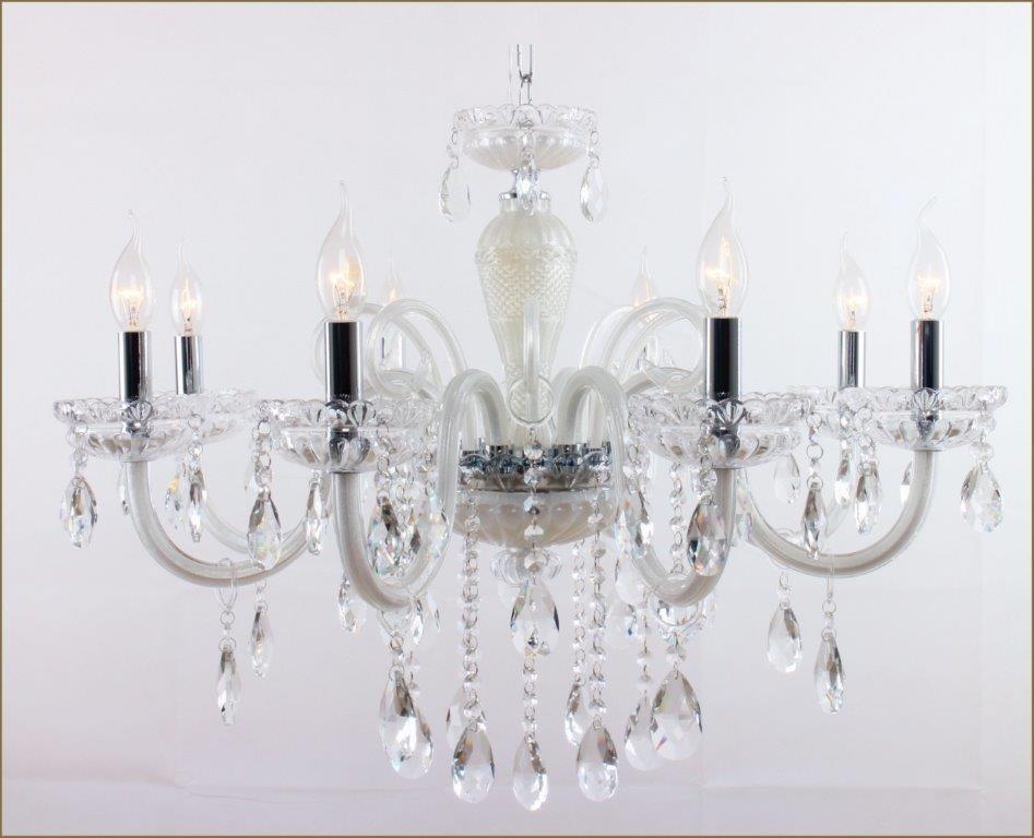 Lustre de Cristal Saint Marie com Estrutura Cromo e Cristais Transparente 8 Braços -Tupiara