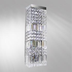 Arandela Rentangular Aluminio cristal 1 Lâmpada - Goldenart