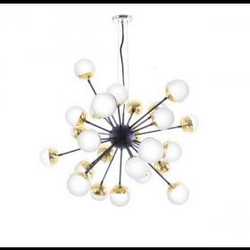 Pendente Moderno Cúpula de Vidro Branco Leitoso Com Dourado e Estrutura Preto 25 Lâmpadas - Old Artisan