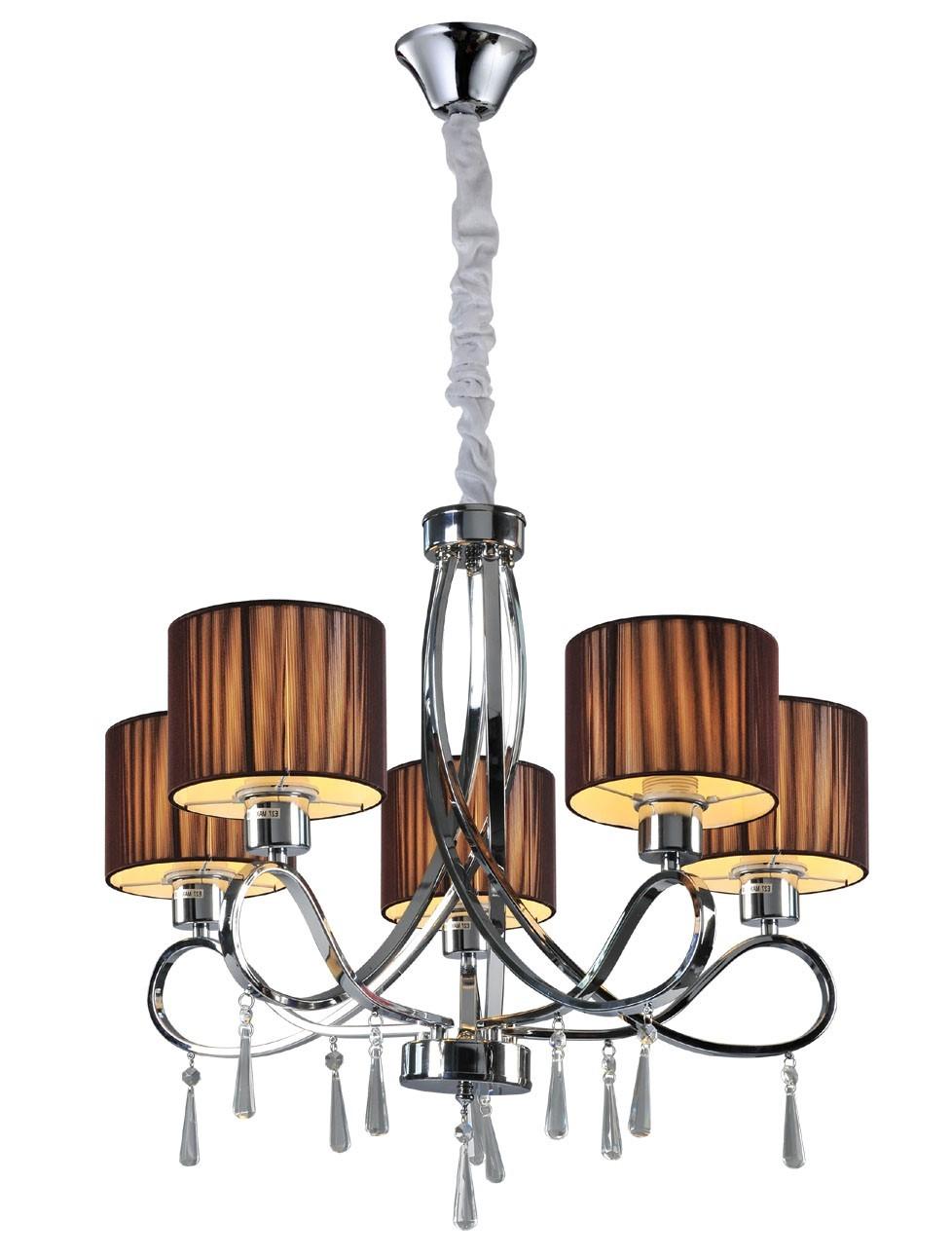 Pendente de cristal 5 lâmpadas cúpula marrom VZ