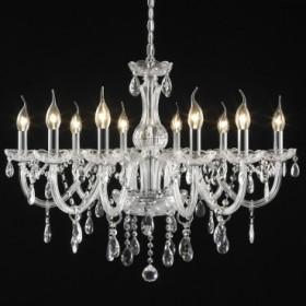 Lustre Maria Thereza de Aço em Cromo com Vidro e Cristais 10 lâmpadas - Itamonte