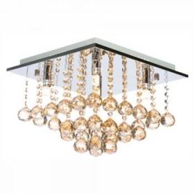 Plafon Moderno de Cristal Champagne e estrutura Quadrada de Aço Cromado 5 Lâmpadas -JLR