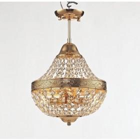 Lustre Royal Metal Dourado com Cristais Transparentes 4 Braços sem Corrente -Tupiara