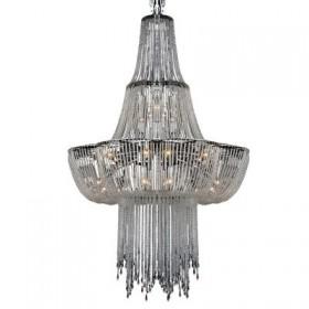 Lustre Imperial Really Metal Cromado Cristal Transparente 19 Lâmpadas - Pier