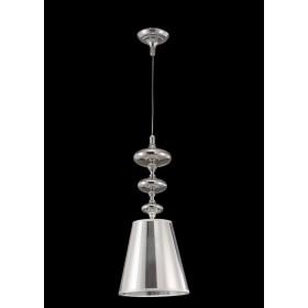 Pendente de Metal Acetato Vidro Cromado Prata 1 lâmpada Calicce - Mantra