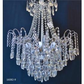 Lustre de Cristal Transparente Modelo Imperial Estrutura em Cromo 9 Lâmpadas - Frontier
