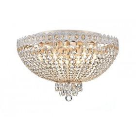 Plafon Queen Metal Branco com Ouro Jateado com Cristais Transparente 9 Lâmpadas - Tupiara