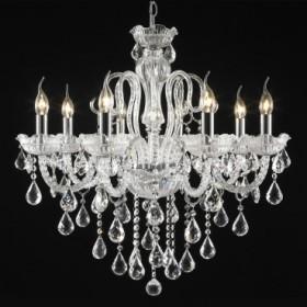 Lustre Candelabro de Cristal Transparente Estilo Maria Threreza 8 Lâmpadas +Luz Iluminação