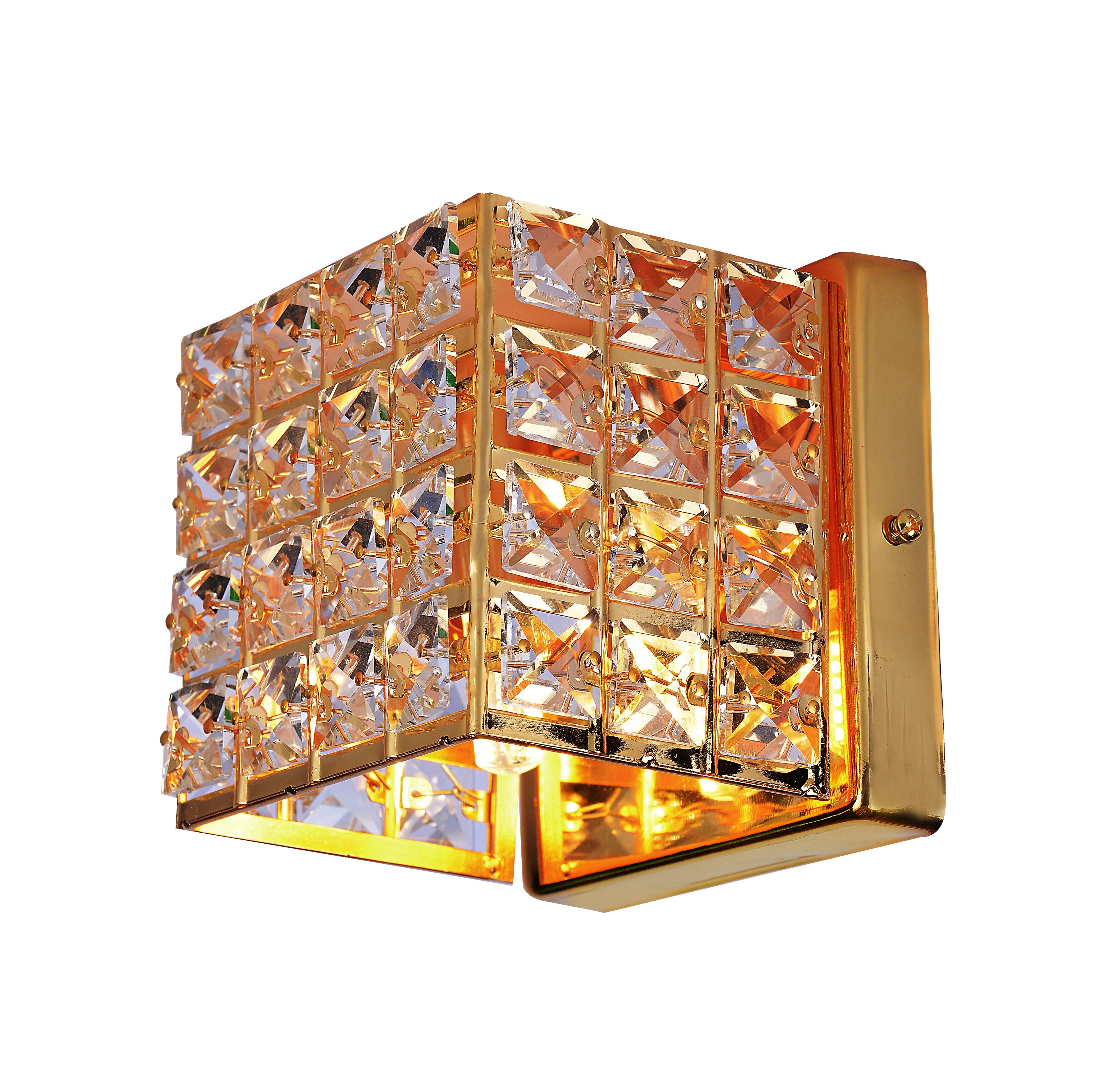 Arandela de Cristal LX lll Dourada 1 Lâmpada