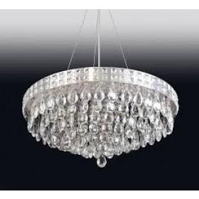 Pendente Moderno de Cristal Transparente e Estrutura Redonda 12 Lâmpadas - Old Artisan