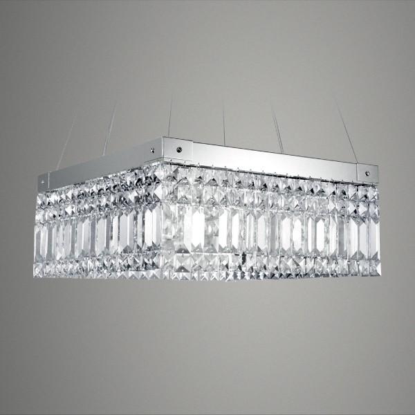 Pendente Quadrado De Cristal Cromado 8 Lâmpada -GoldenArt