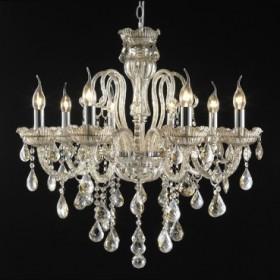Lustre Candelabro de Cristal Maria Thereza Conhaque 8 Lâmpadas +Luz Iluminação