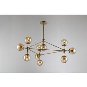 Pendente Moderno Cúpula de Vidro e Estrutura Dourada 10 Lampadas VO