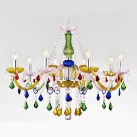 Lustre de Cristal Candelabro Maria Thereza Colorido 8 Lâmpadas