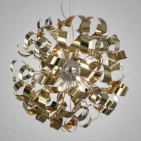 Pendente de Aço Dourado 12 Lâmpadas +Luz Iluminação