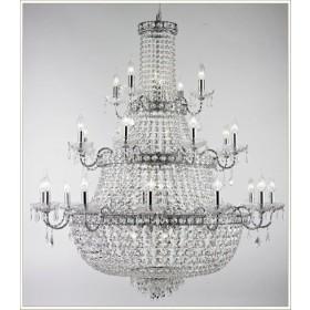 Lustre Imperial Cromado com Cristais Transparentes 24 Braços + 11 Lamapadas -Tupiara